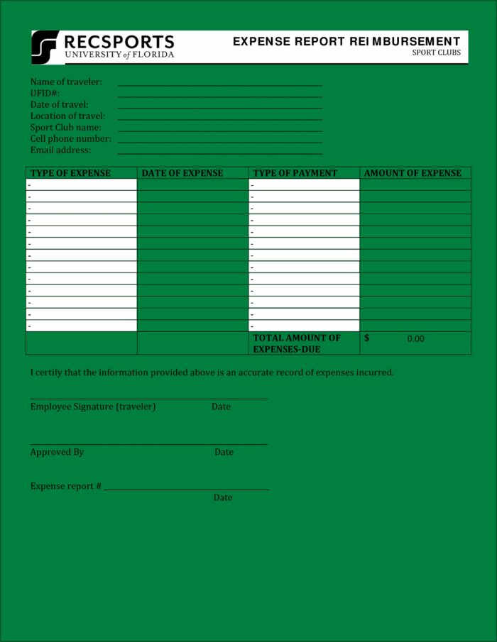 Sample Employee Expense Report Form