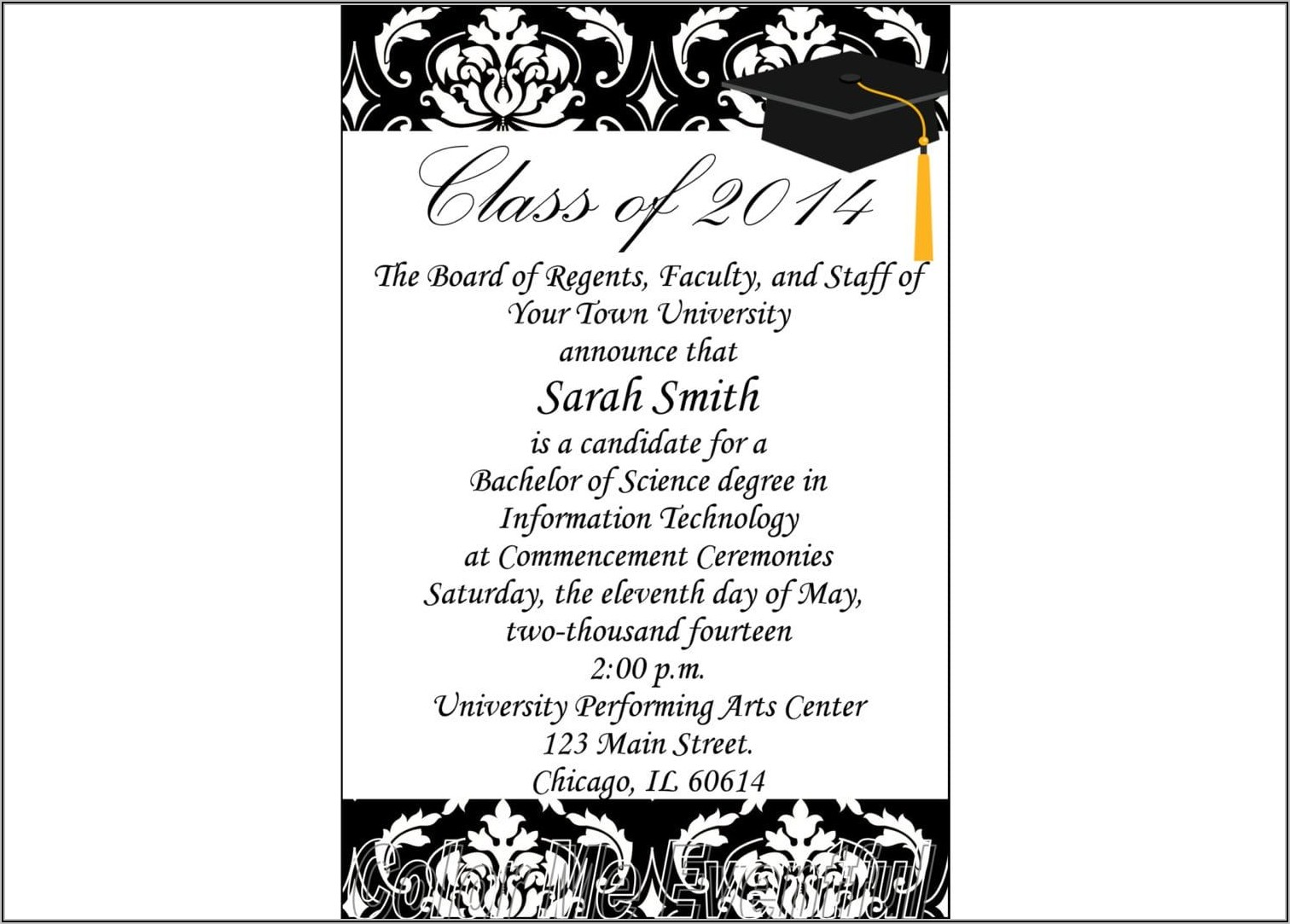 Sample Graduation Announcement Wording