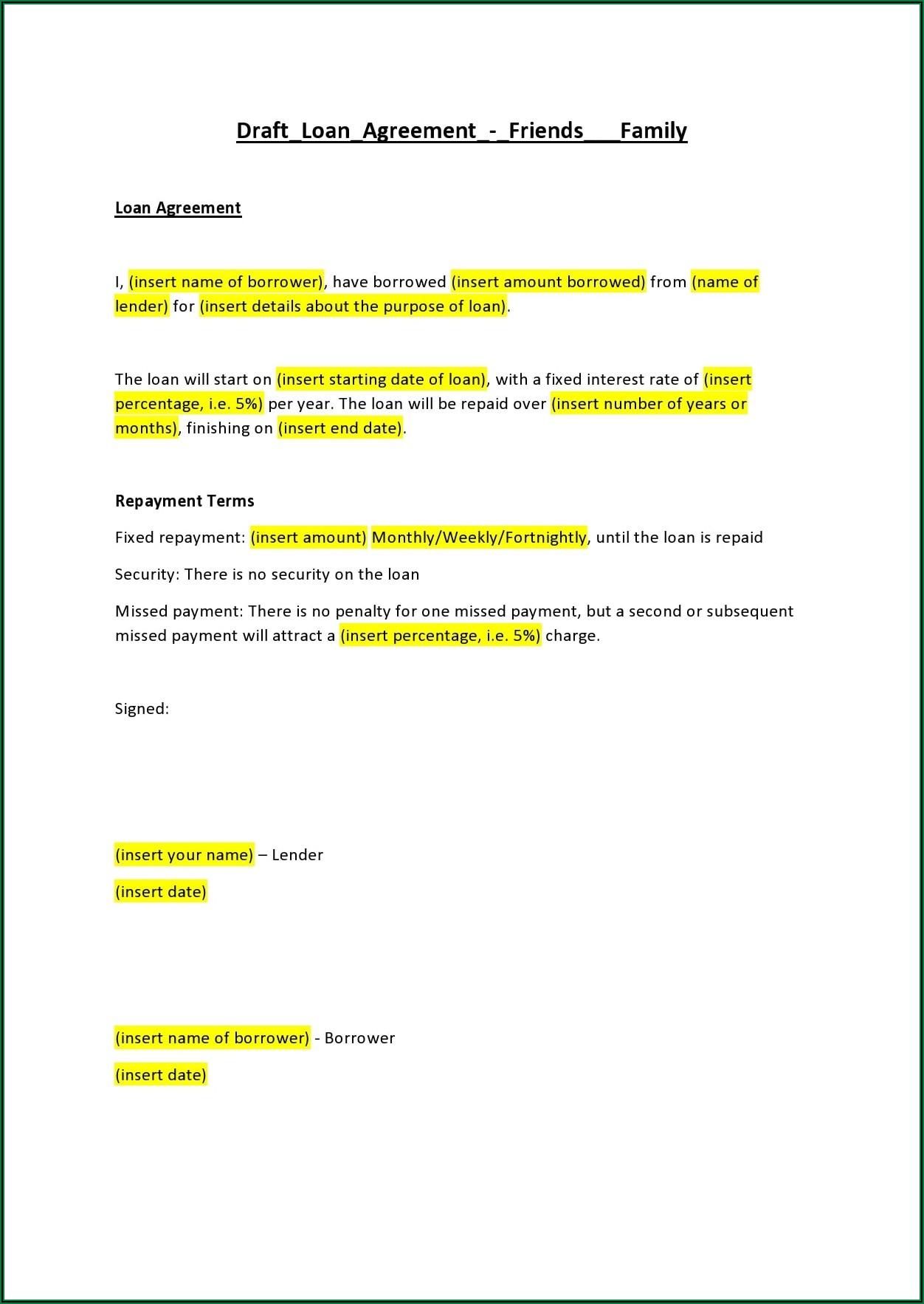 Sample Loan Agreement Form Between Friends
