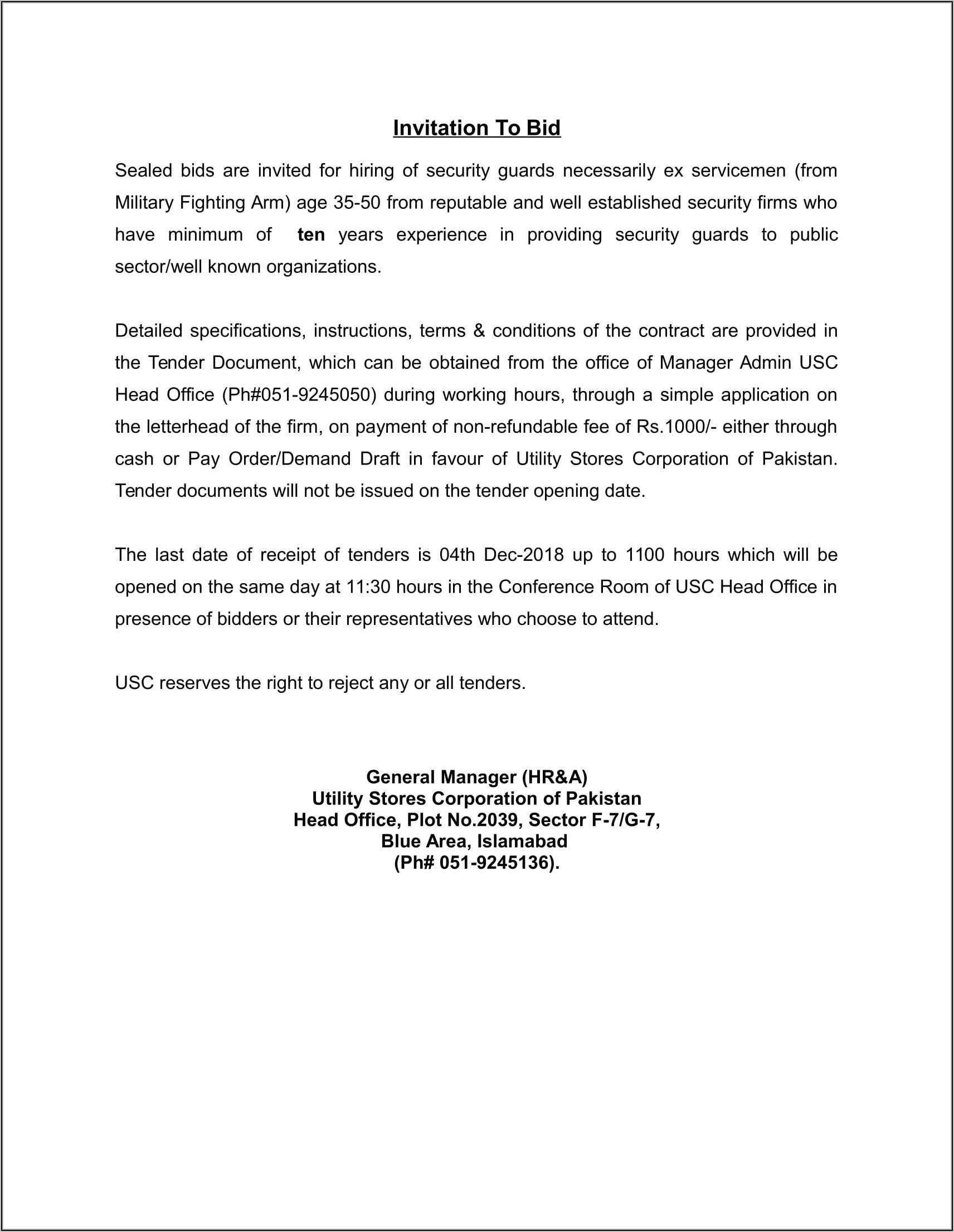 Security Guard Bid Announcements 2018