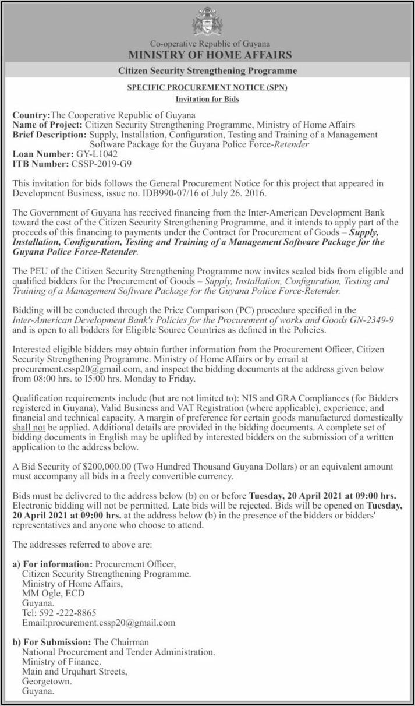 Security Guard Bid Announcements 2019