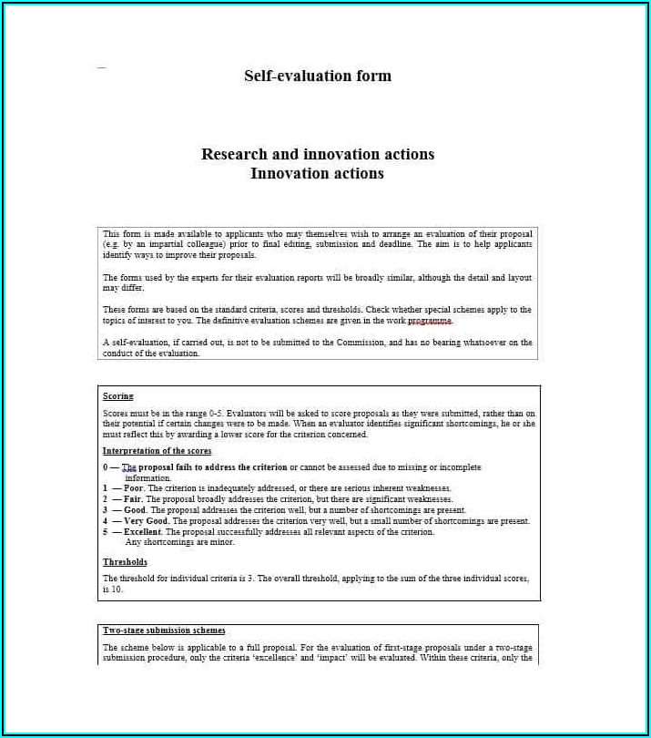 Self Evaluation Template For Performance Review