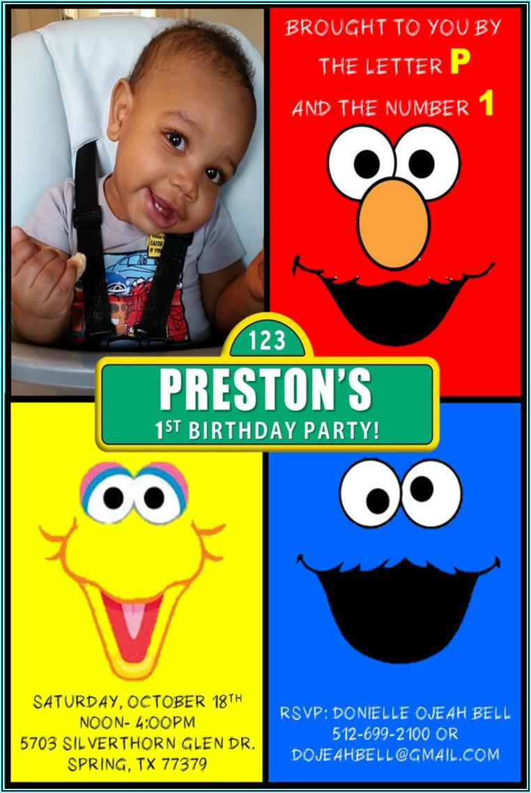 Sesame Street 1st Birthday Party Invitations