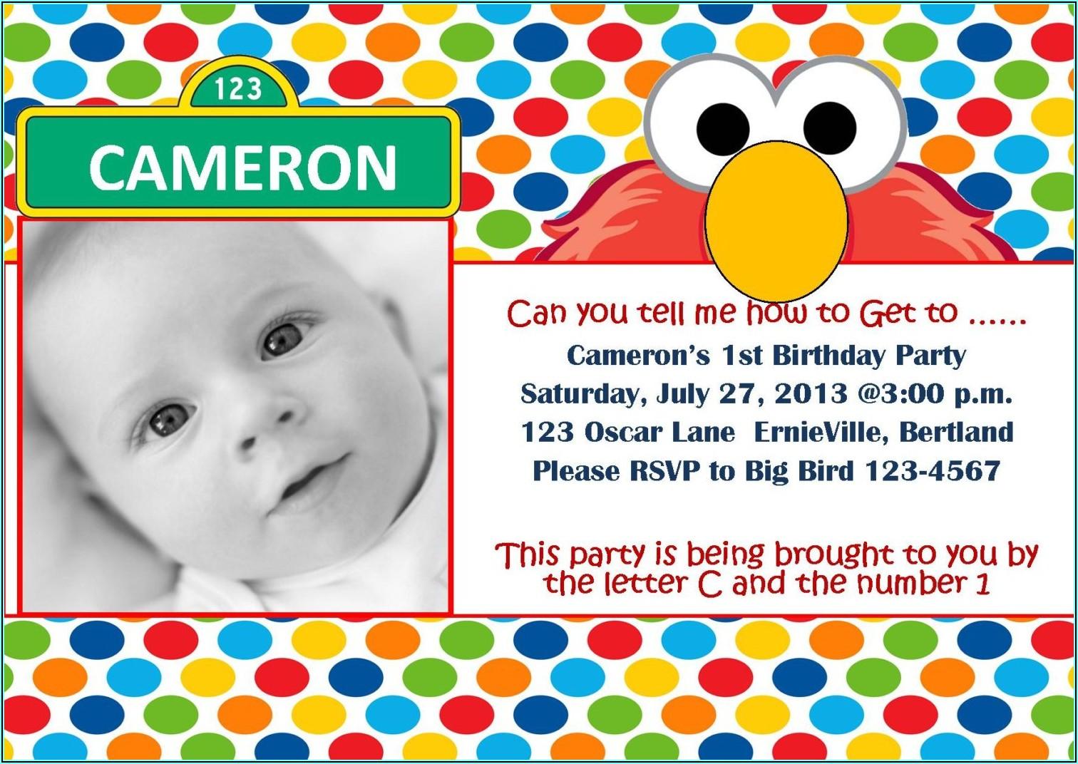 Sesame Street Custom Invitations 1st Birthday
