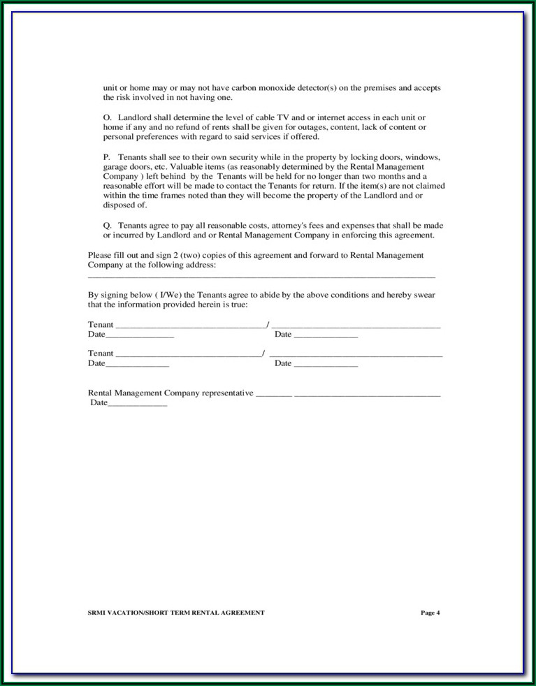 Short Term Rental Agreement Forms