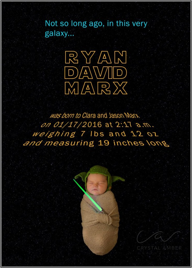 Star Wars Baby Announcement Template