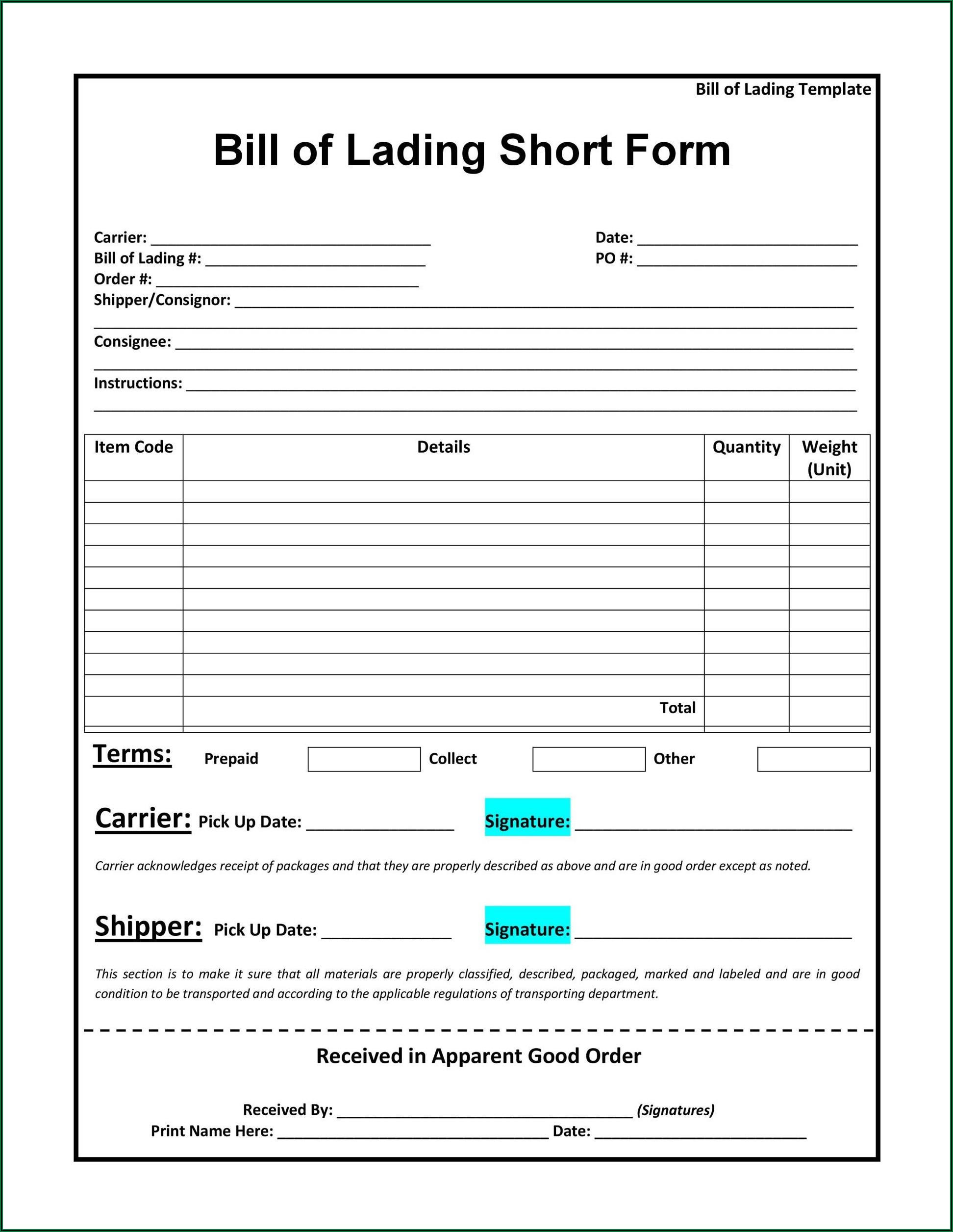 Straight Bill Of Lading Short Form Excel