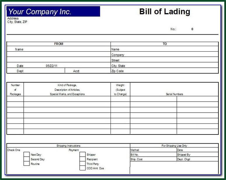 Straight Bill Of Lading Short Form Pdf
