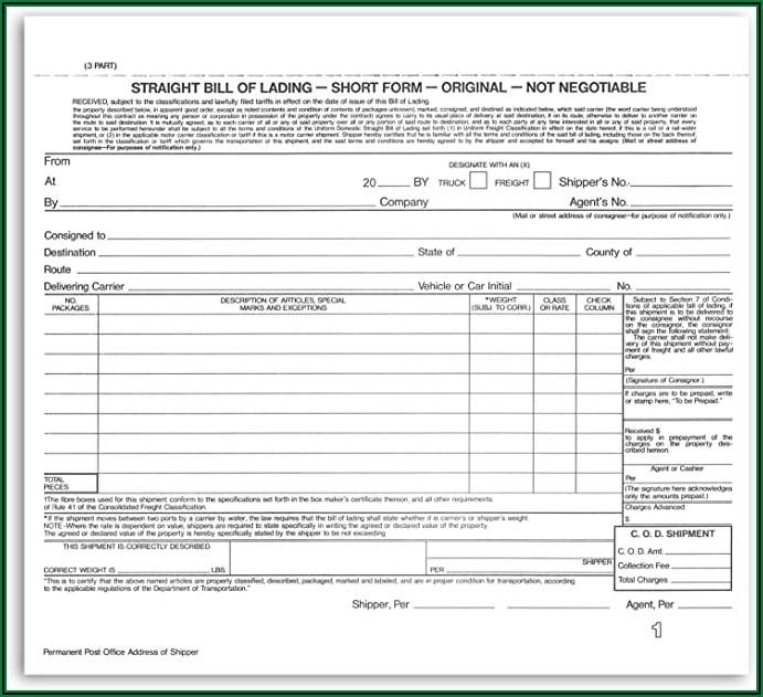 Straight Form Bill Of Lading