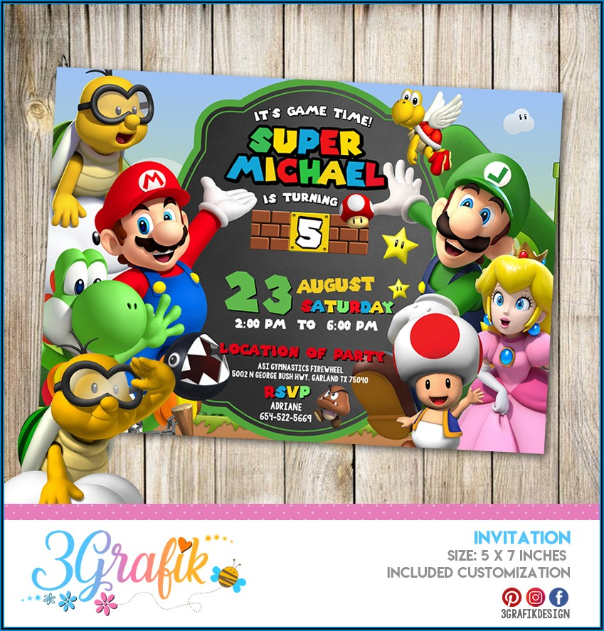 Super Mario Bros Birthday Party Invitation Templates