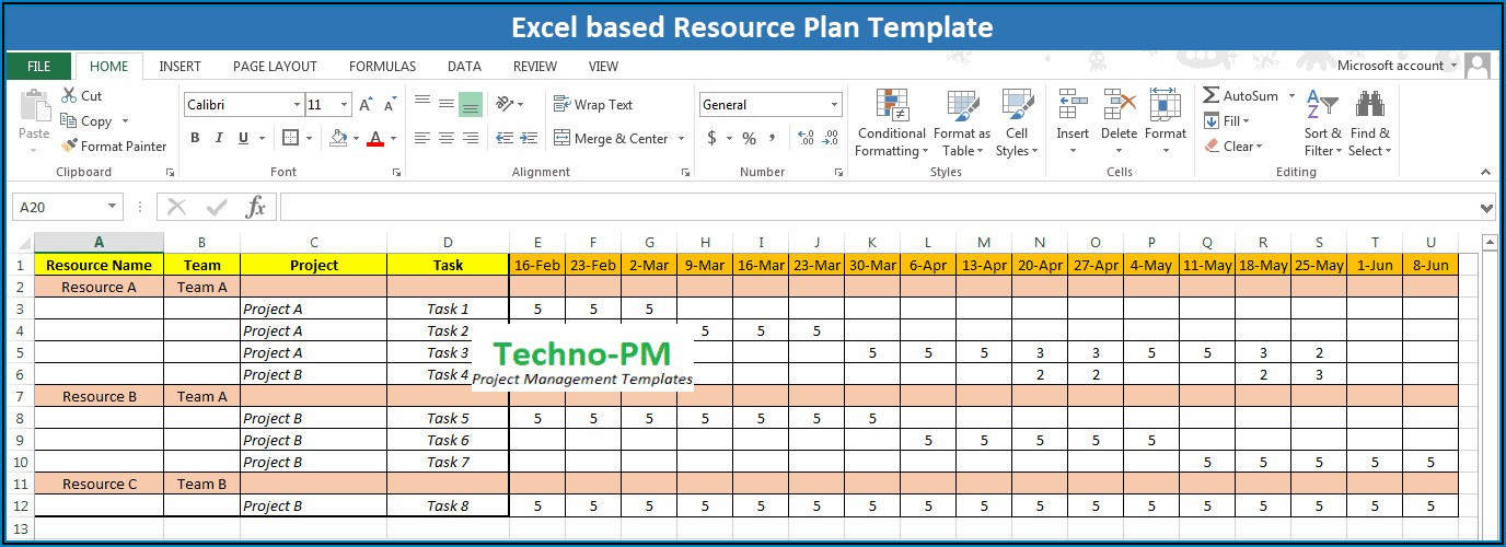 Team Resource Planning Template Excel Free Download