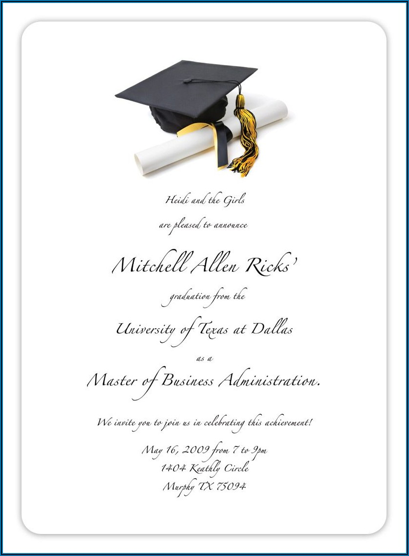 Template For Graduation Invitation Inserts