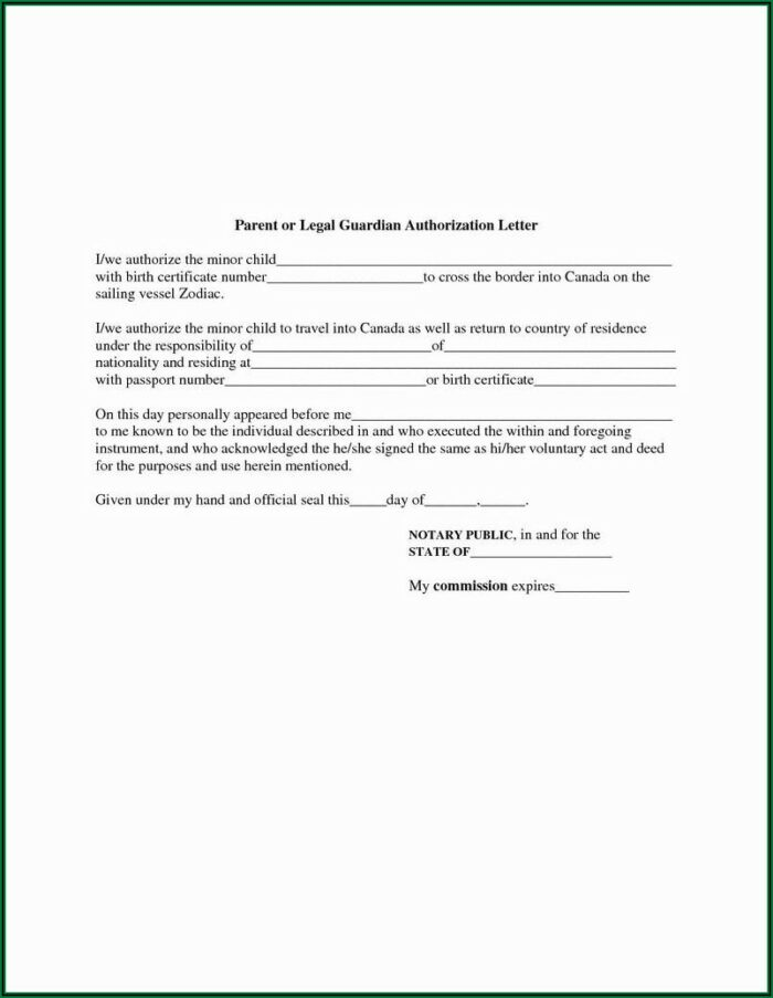 Temporary Child Guardian Consent Form