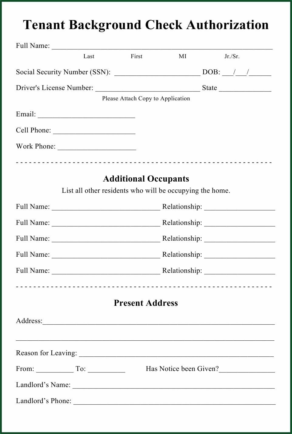 Tenant Background Check Form Pdf