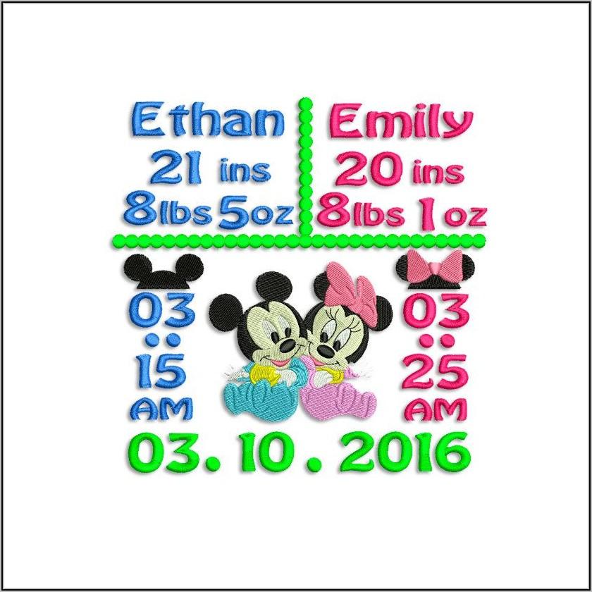 Twin Birth Announcement Embroidery Design
