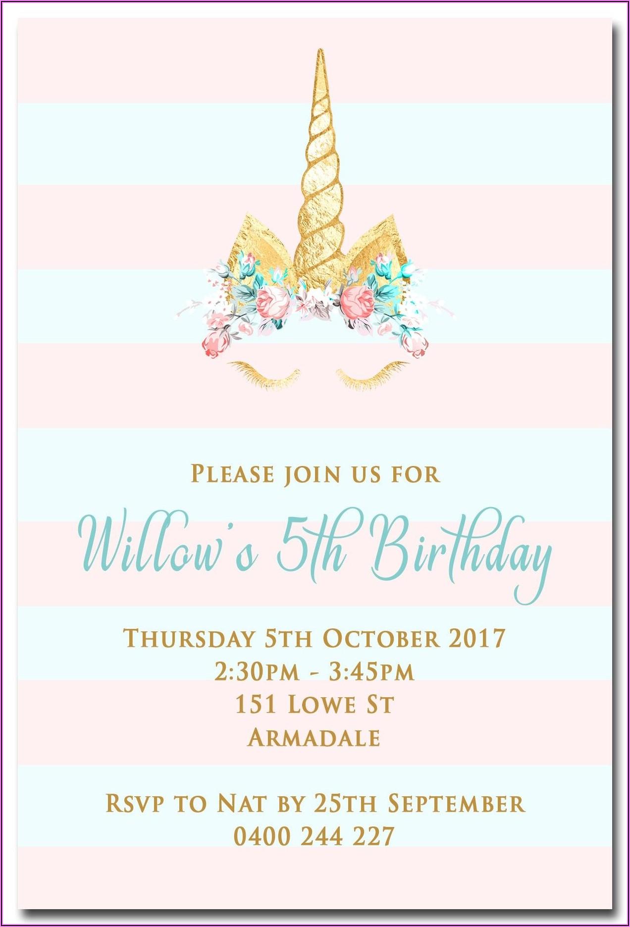 Unicorn Birthday Party Invitations Free Printable
