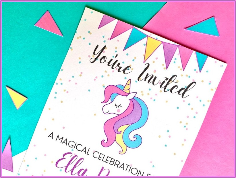 Unicorn Birthday Party Invitations Free Template