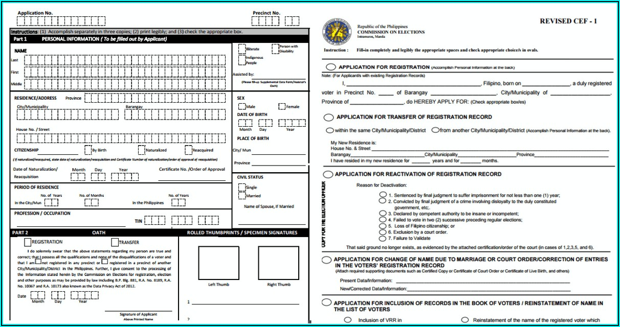 Voters Application Form