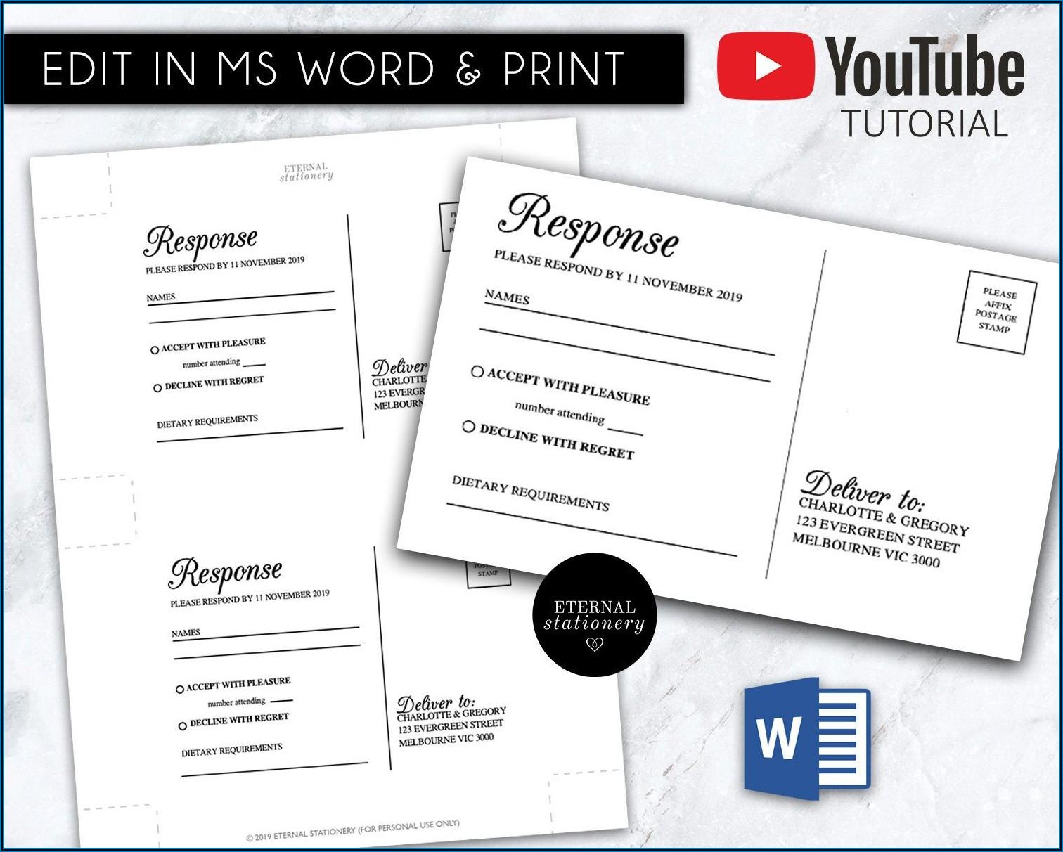 Wedding Rsvp Template Microsoft Word