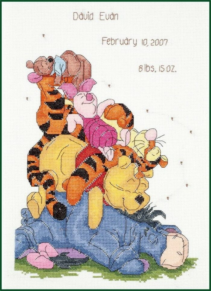 Winnie The Pooh Cross Stitch Baby Announcement
