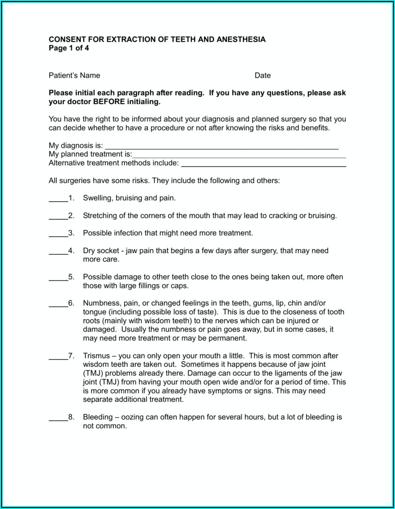 Wisdom Tooth Extraction Consent Form