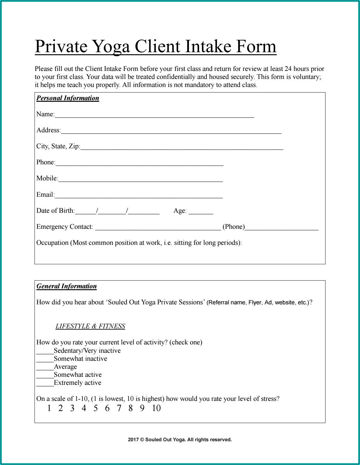 Yoga Therapy Client Intake Form