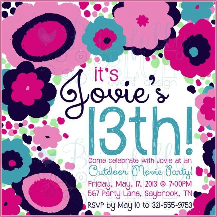 13th Birthday Party Invitations Printable