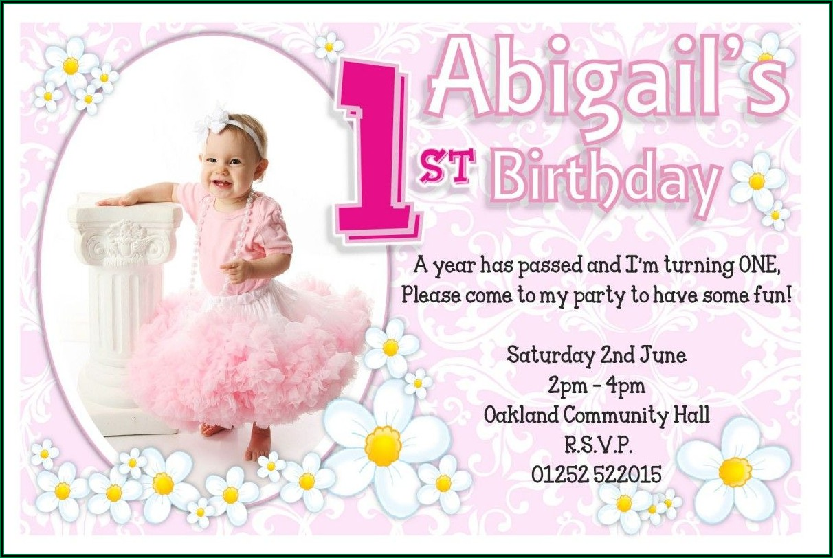 1st Birthday Invitation For Baby Girl Template