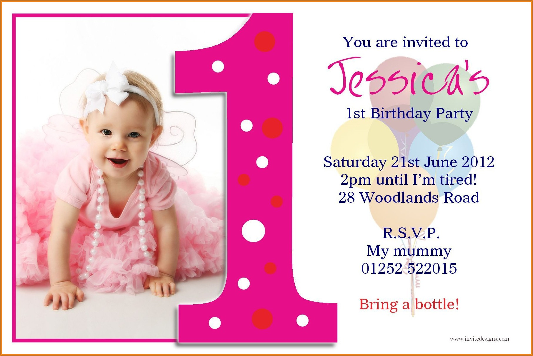1st Birthday Invitation Text Message Sample