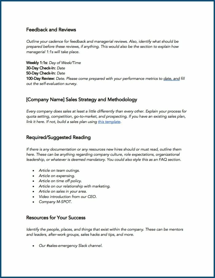 30 60 90 Day Sales Plan Template Free