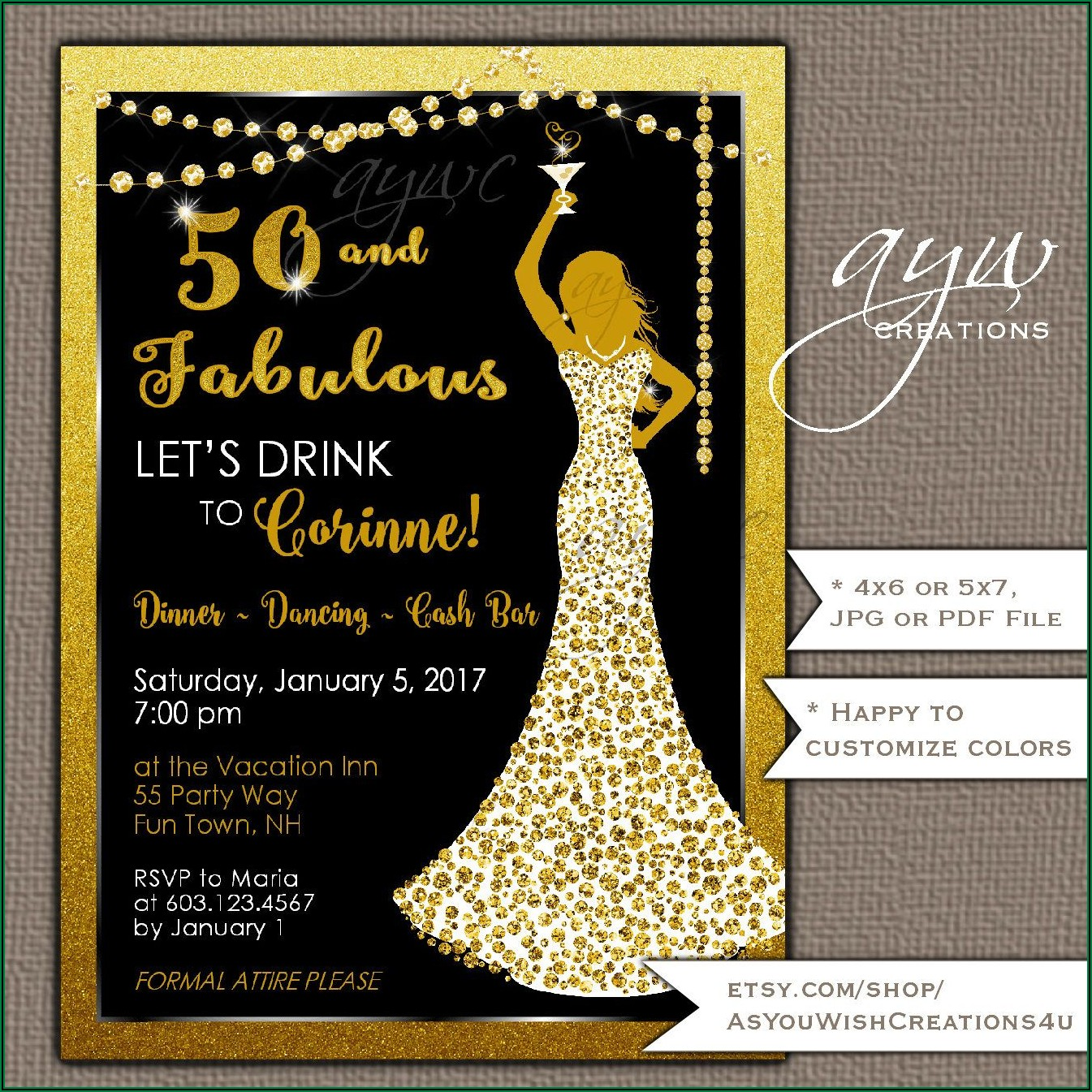 50th Birthday Invitation Templates For Her