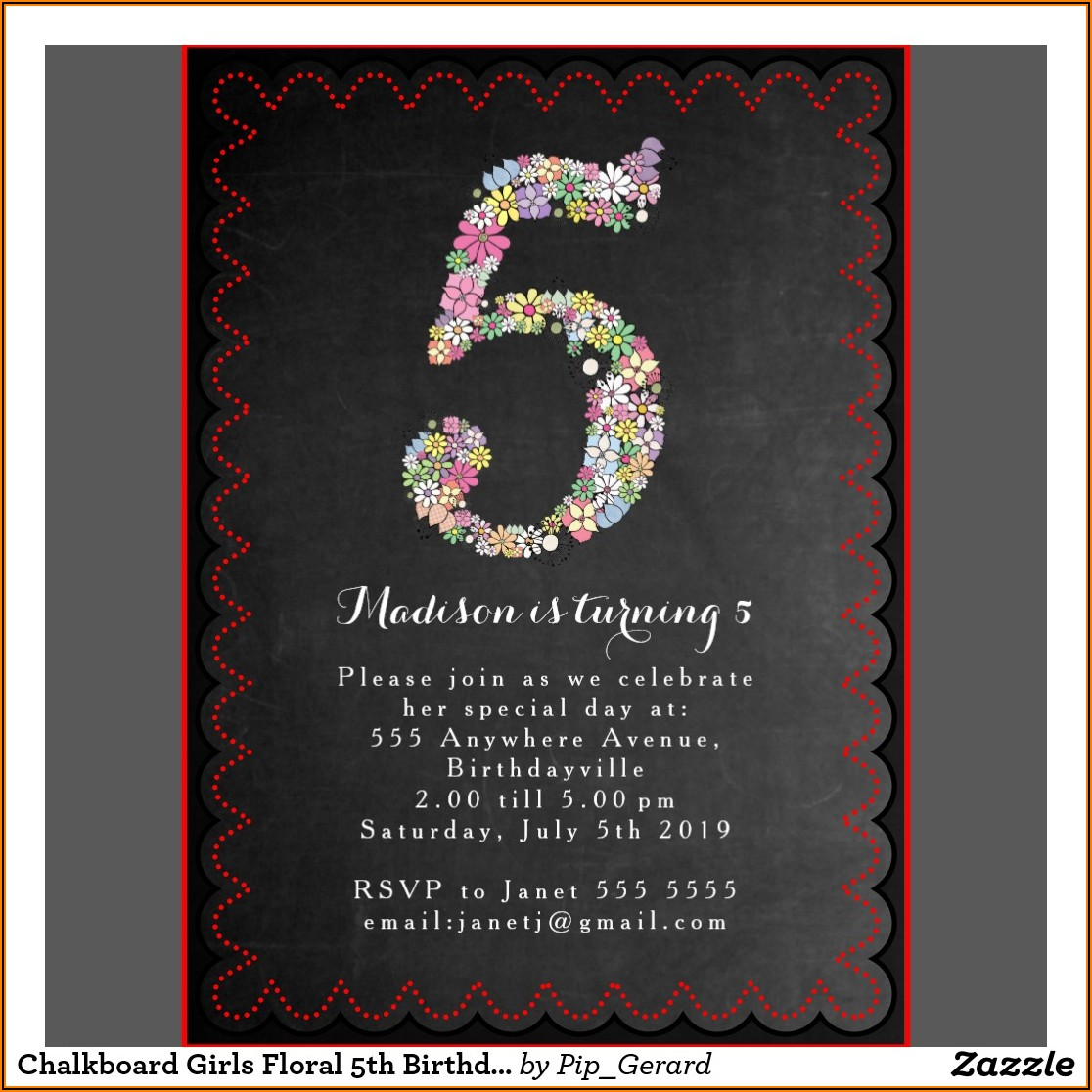 5th Birthday Invitation Text Message