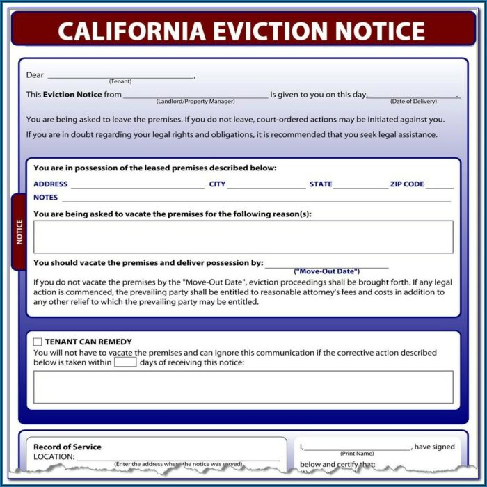 60 Day Eviction Notice California Template