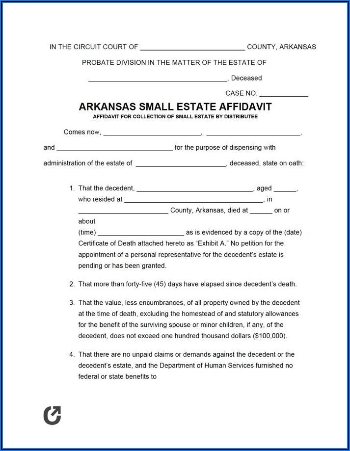 Affidavit Of Heirship Form Arkansas