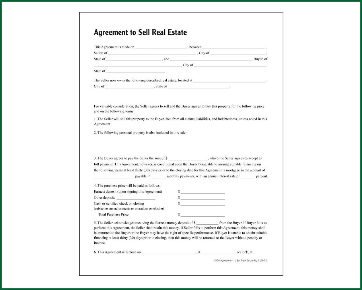 Agreement To Sell House Form