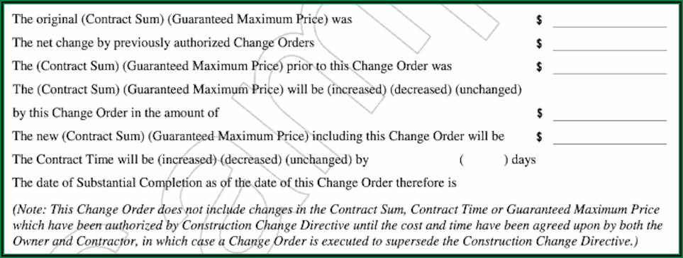Aia Change Order Form Excel Free
