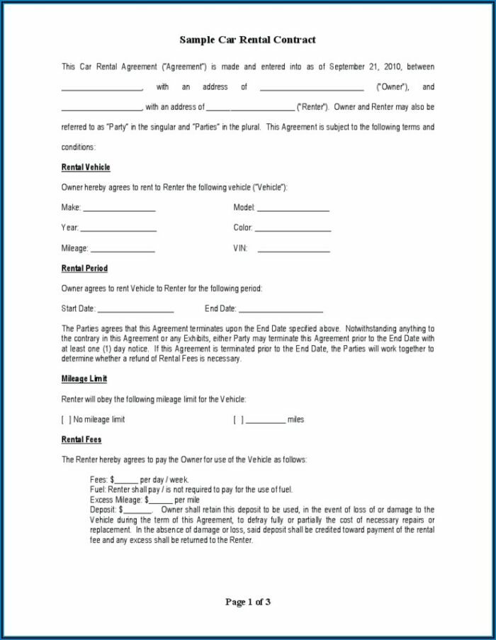 Automobile Lease Agreement Template Free