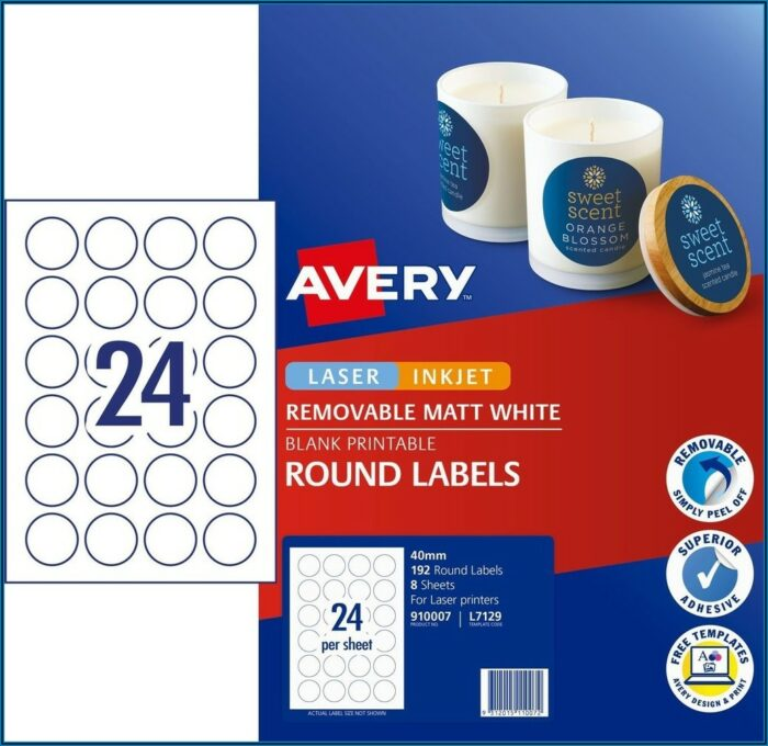 Avery 40mm Round Labels Template