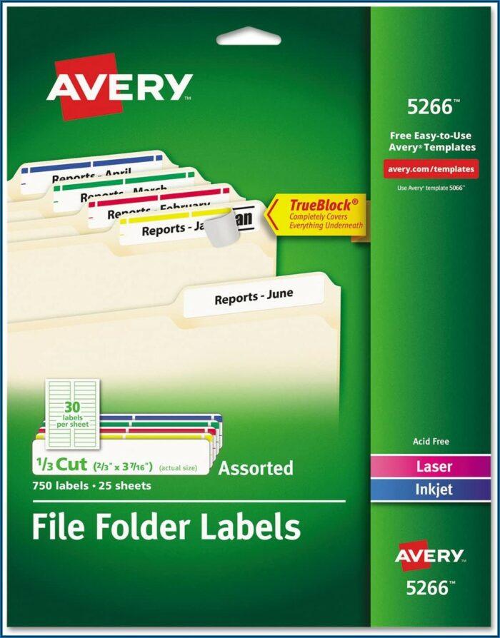 Avery File Folder Templates 5266