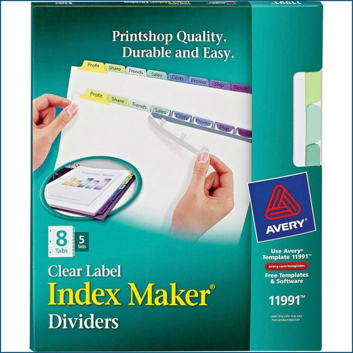 Avery Tab Inserts For Dividers 8 Tab Template