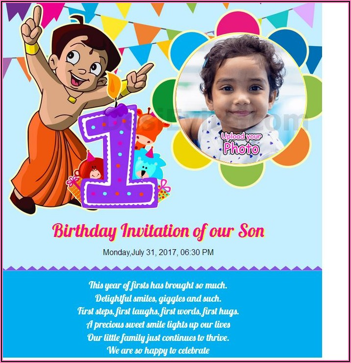 Baby Girl 1st Birthday Invitation Card India