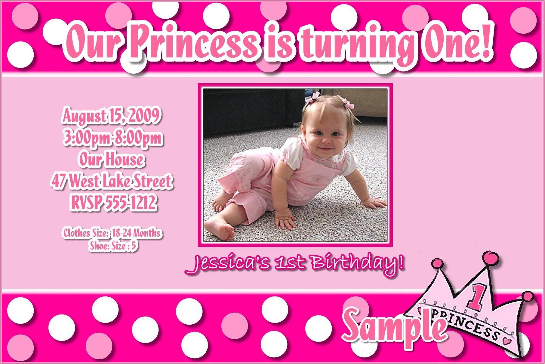 Baby Girl 1st Birthday Invitation Template