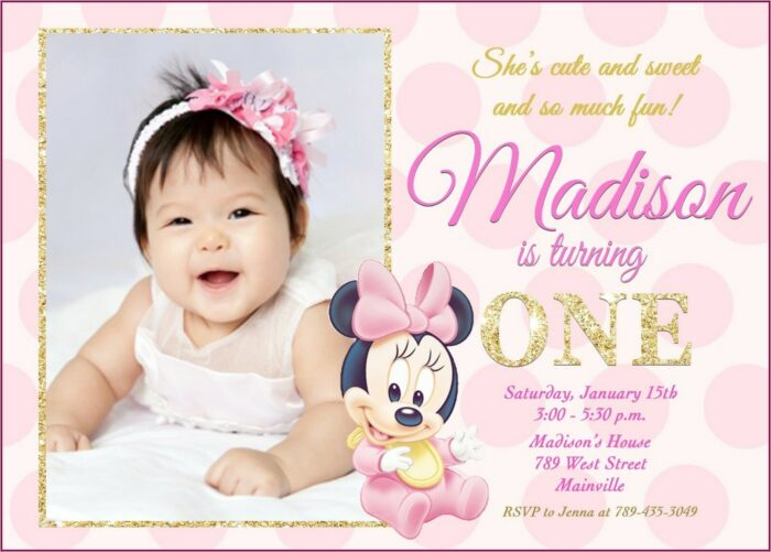 Baby Minnie Mouse First Birthday Invitations
