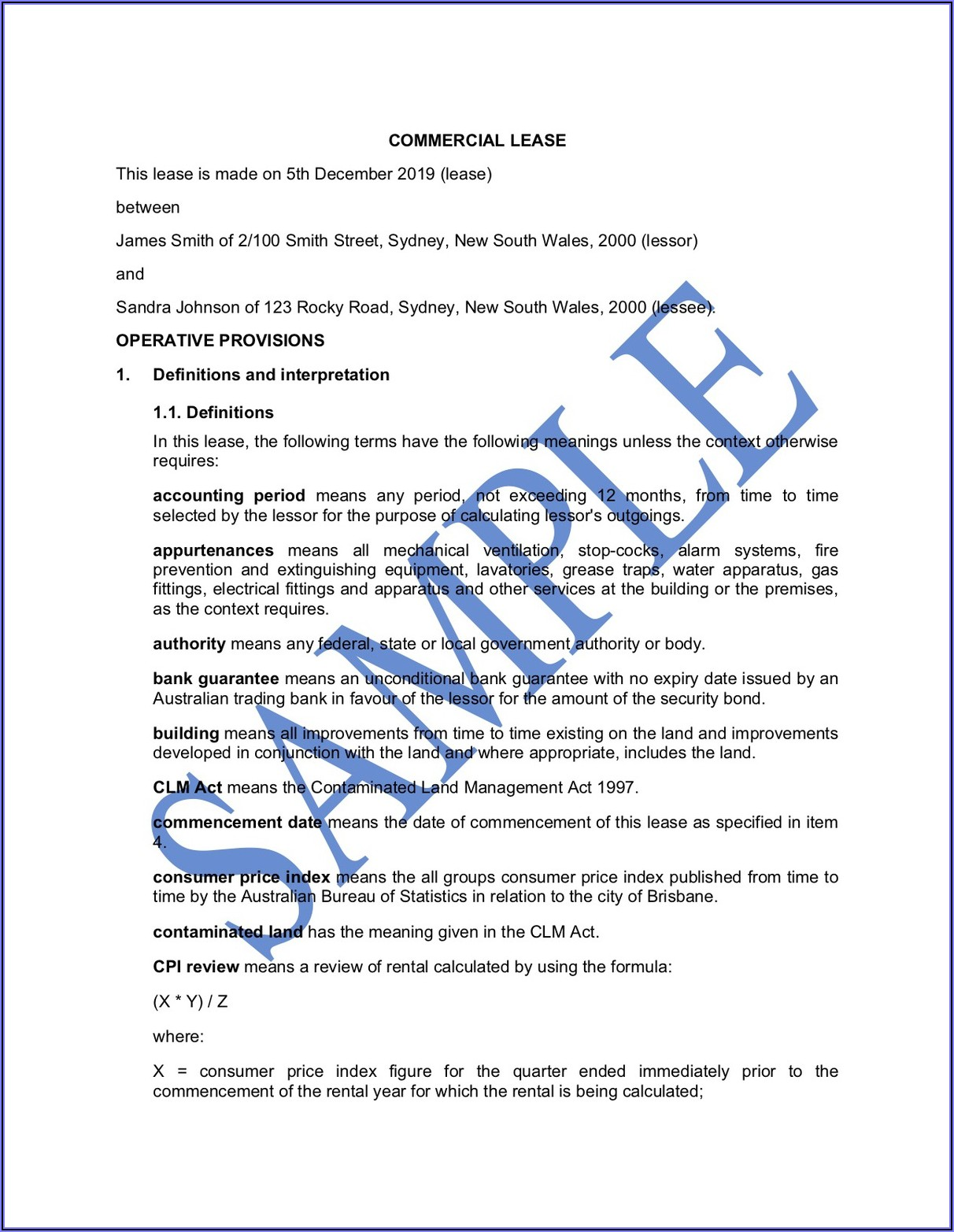 Basic Commercial Lease Agreement Template Free Australia
