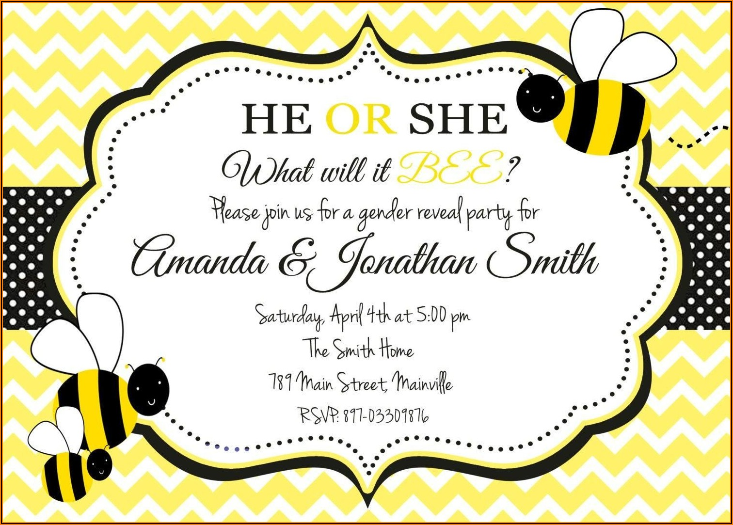 Bee Gender Reveal Invitation Template