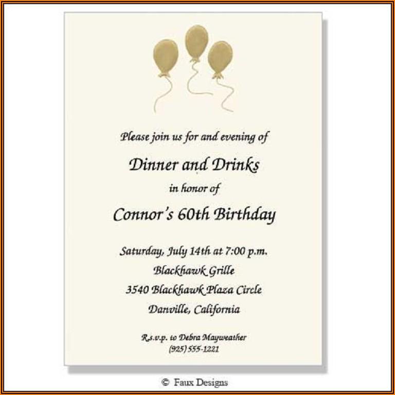 Birthday Dinner Invitation Text Message Sample