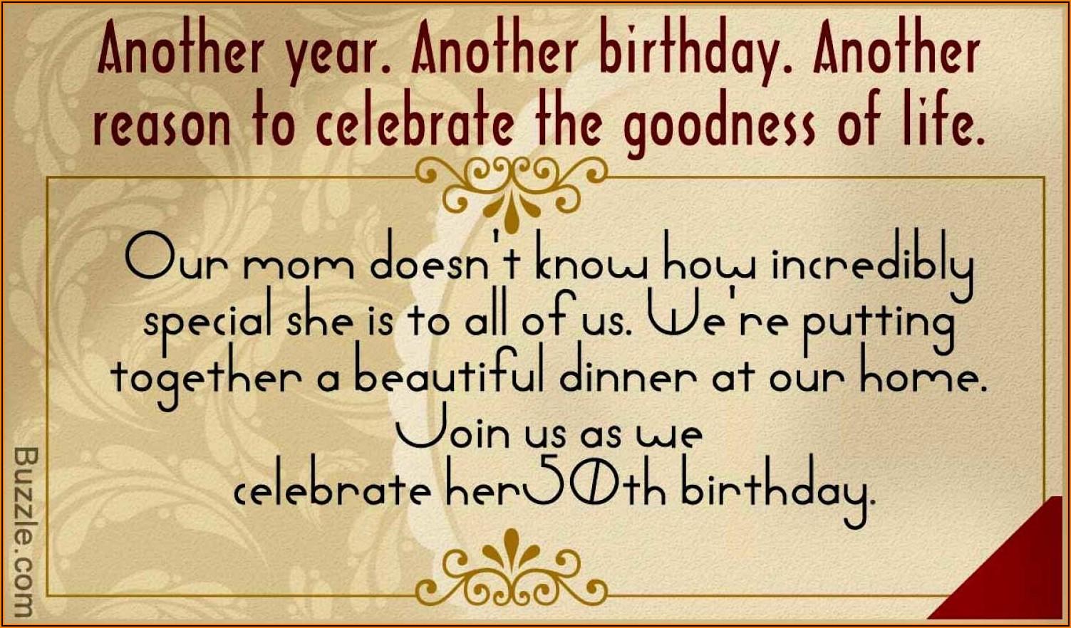 Birthday Dinner Invitation Text Message