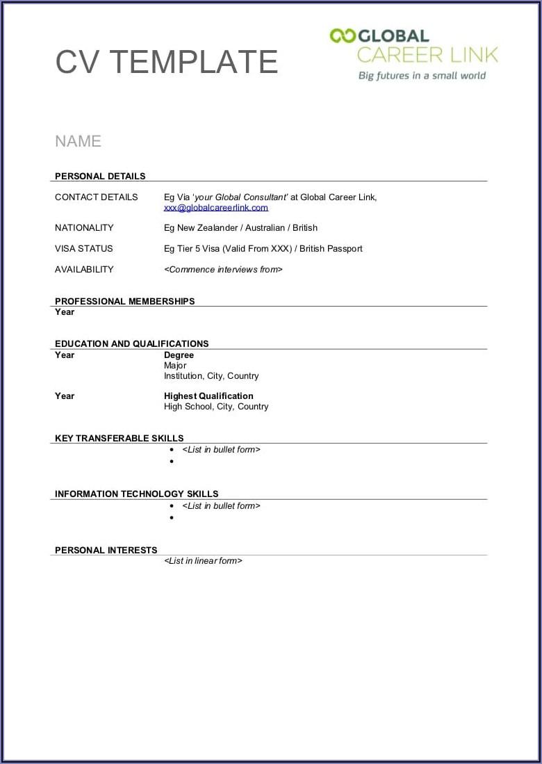 Blank Cv Template To Print Uk