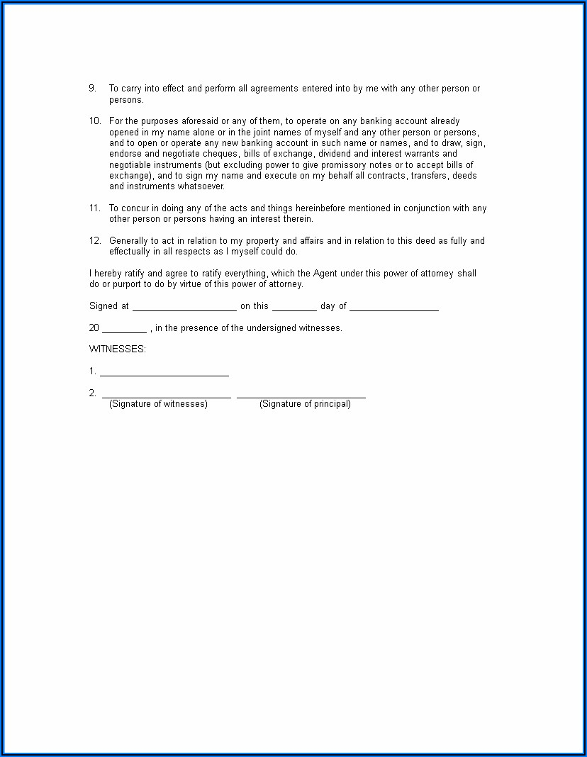 Blank General Power Of Attorney Form