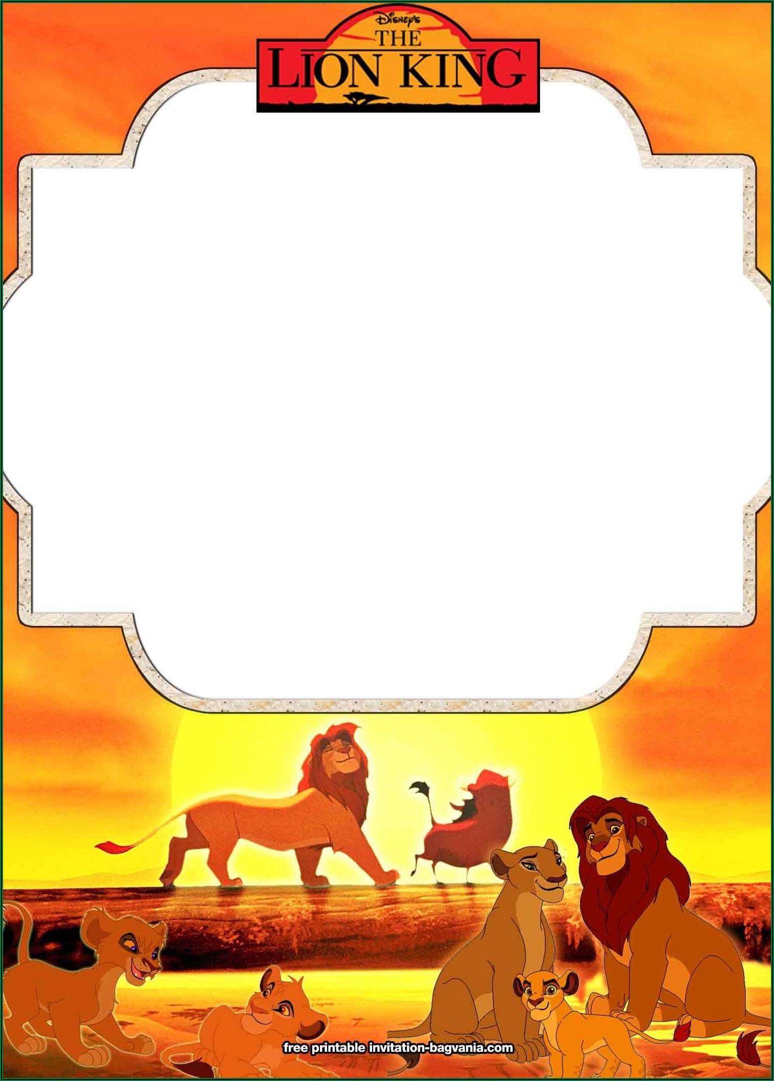 Blank Lion King Invitation Template Free